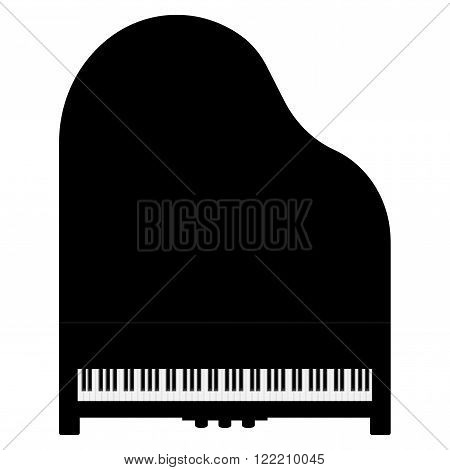 Piano. Grand piano top view. Vector illustration isolated on white background