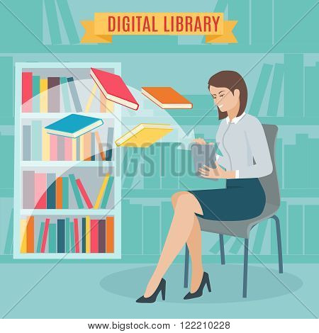 Flat concept of the electronic library. Woman sitting and download e-books in the tablet. Woman sitting in library next to a shelf of books. Vector illustration.