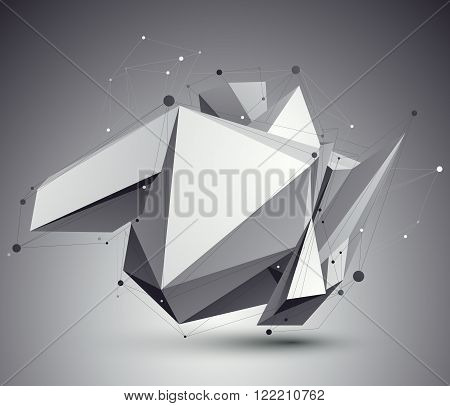 Distorted 3D Abstract Object With Lines And Dots Over Dark Background, Cybernetic Backdrop.