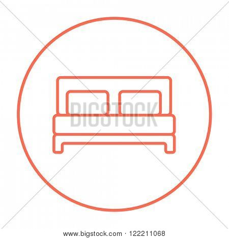 Double bed line icon.