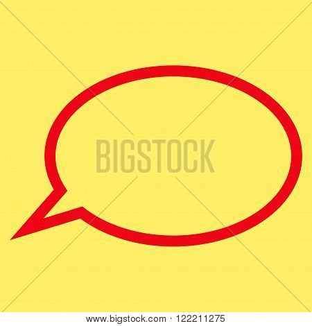 Hint Cloud vector icon. Picture style is flat hint cloud icon drawn with red color on a yellow background.