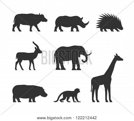 Vector black set of silhouettes african animals. Figure buffalo rhino gazelle and porcupine. Silhouette elephant hippopotamus monkey and giraffe. Figure african animals isolated.