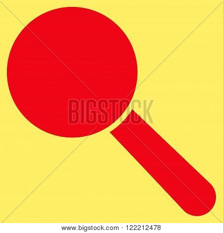 Explore Tool vector icon. Picture style is flat search tool icon drawn with red color on a yellow background.