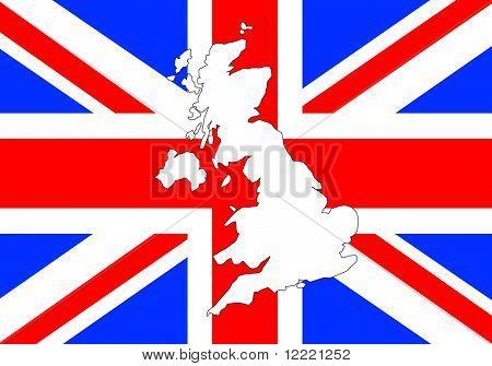 Outline shape of UK over Union Jack flag