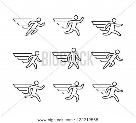 Modern outline runners icons. Vector line figures runners and running symbol. Icarus and a man with wings.