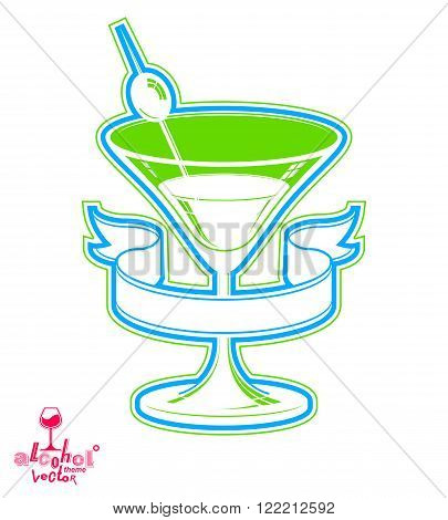 Realistic 3d martini glass with olive berry beverage theme illustration. Stylized artistic lounge object leisure and party idea.