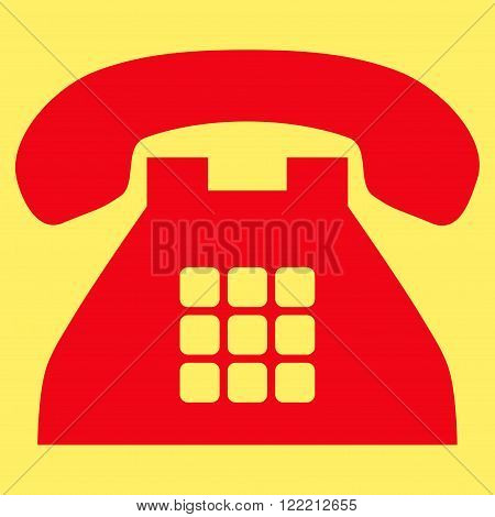 Tone Telephone vector icon. Picture style is flat tone phone icon drawn with red color on a yellow background.