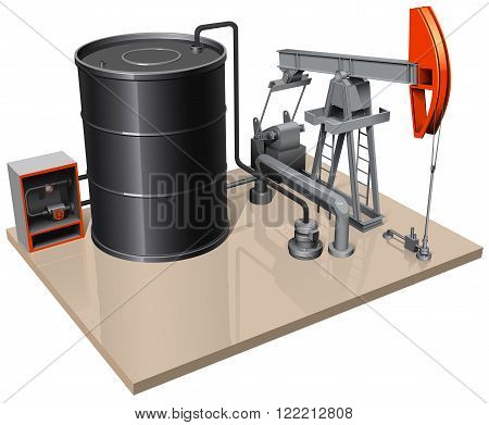 a pumpjack with metal barrel and different pipes