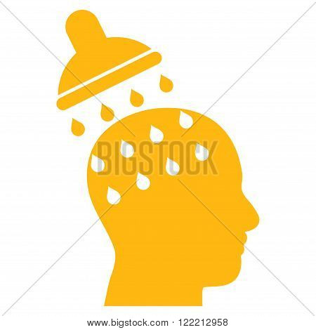 Brain Washing vector icon. Picture style is flat brain washing icon drawn with yellow color on a white background.