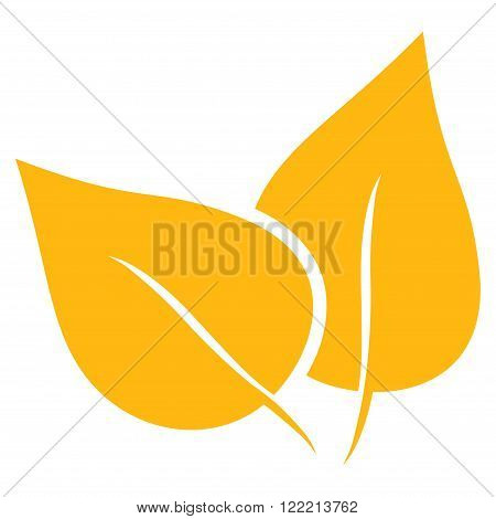 Flora Plant vector icon. Picture style is flat flora plant icon drawn with yellow color on a white background.