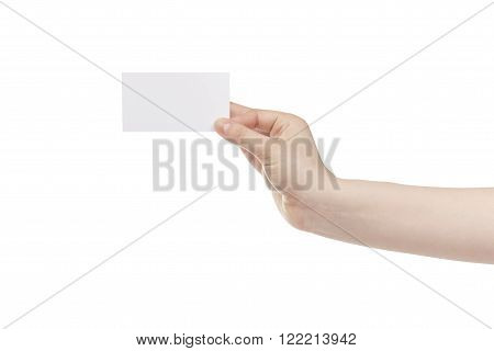 young female right hand hold blank white paper card, isolated on white