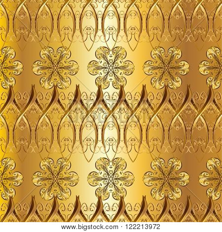 Abstract pattern, vintage golden gradient texture. Floral pattern. Interesting texture with golden elements.