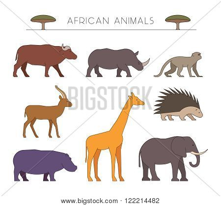 Outline set of african animals. Linear silhouettes african animals isolated on white. Vector icons african buffalo rhino and monkey. Outline silhouette gazelle giraffe and porcupine.
