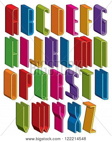 3d font vector tall thin letters geometric dimensional alphabet best for use in advertising and web design.