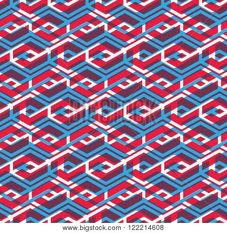 Seamless pattern with parallel intertwine rhombs colorful infinite geometric ornament textile abstract vector textured visual covering with multiple layers.