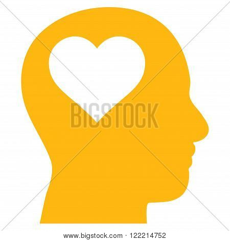 Lover Head vector icon. Picture style is flat lover head icon drawn with yellow color on a white background.