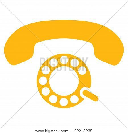 Pulse Dialing vector icon. Picture style is flat pulse dialing icon drawn with yellow color on a white background.