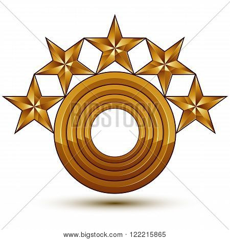 Heraldic Vector Template With Five-pointed Golden Stars And A Copy Space, Dimensional Royal Geometri