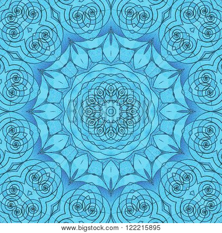 Abstract geometric seamless background. Delicate floral circle ornament in light blue shades with dark outlines. Centered spiral pattern, ornate and dreamy.