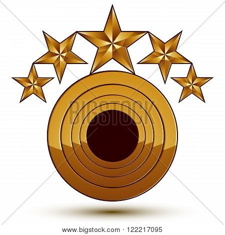 Vector Glorious Glossy Design Element With 5 Luxury 3D Golden Stars, Conceptual Graphic Template, Cl