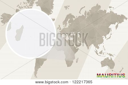 Zoom On Mauritius Map And Flag. World Map.