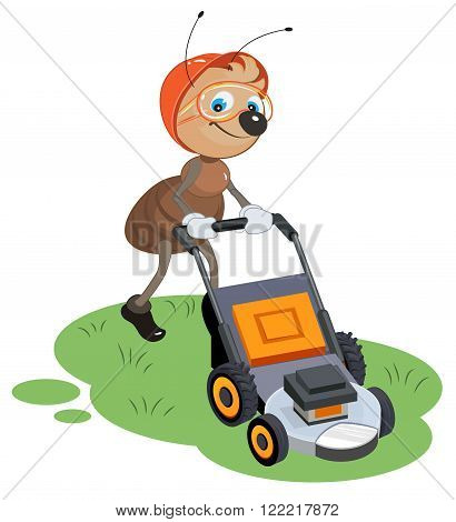 Ant gardener mows lawn. Gardener and lawn mower. Cartoon illustration in vector format