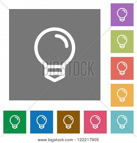 Light bulb flat icon set on color square background.