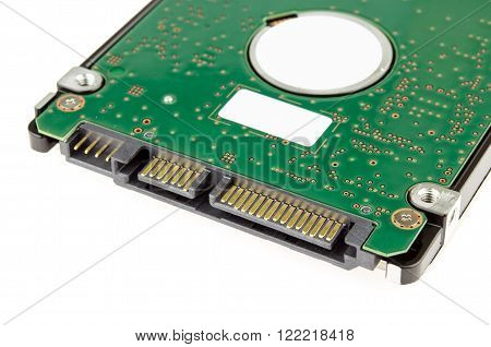 Hard disk SATA connector isolate on white background