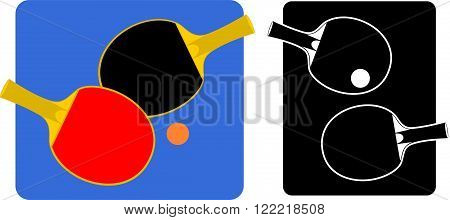 vector emblem or label of tennis table racket