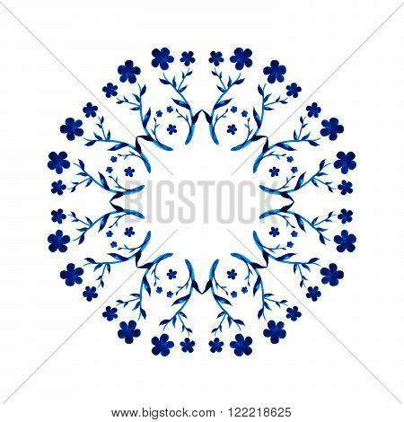 Round decorative pattern in a watercolor style handmade. Floral ornament from flowers, leaves and grass in a blue wreath on a white background. Handmade, doodle style.