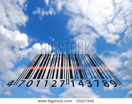 Illustration showing bar code stripes in cloudy sky
