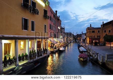 Night View Of Venetian Canal
