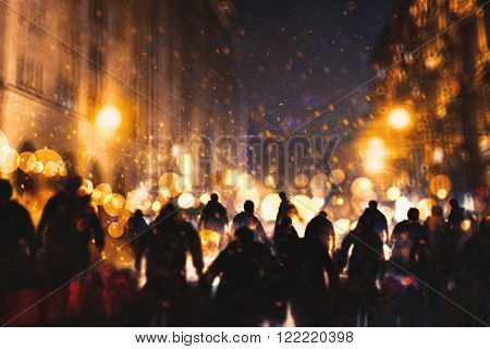 group of zombie walking through burning city illustration painting