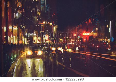 painting of night street with colorful lights, illustration