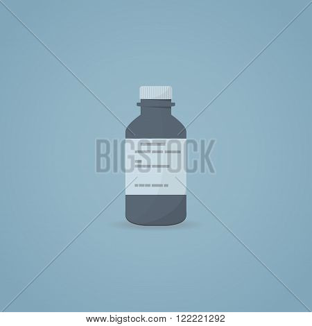Flat illustration of medicine syrup bottle with prescription.