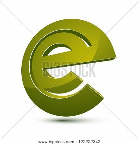 3D Unusual E Symbol, Abstract Vector Geometric Symbol. Innovation And Technology Conceptual Icon Iso