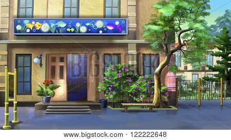 Pet Shop Outdoor. Digital painting of  Pet Shop