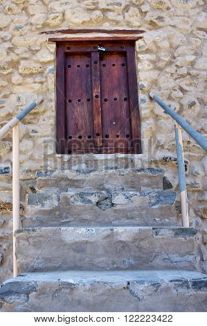 The stairs and door in village Bilad Sayt sultanate Oman