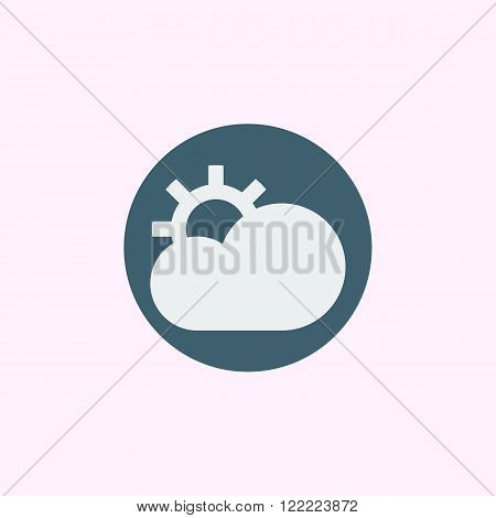Cloud Configure Icon, On Blue Circle Background, White Outline