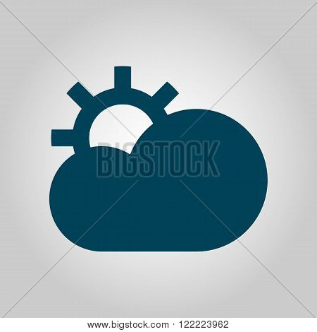 Cloud Configure Icon, On Grey Background, Blue Outline, Large Size Symbol