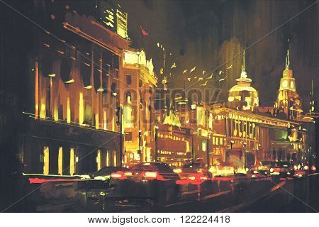 painting of city street with colorful light, Shanghai The Bund at night