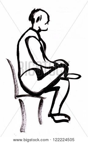 Instant sketch figure of man on chair