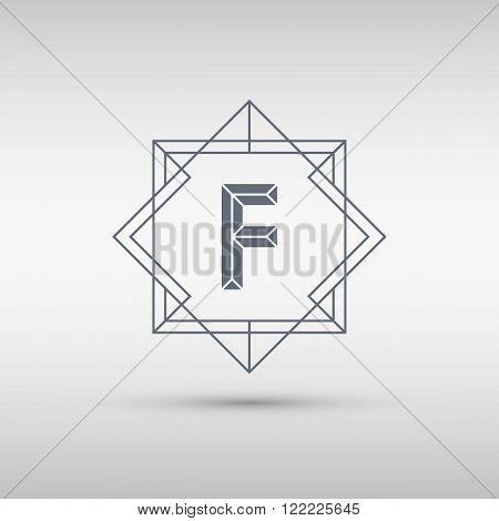 Letter F logo icon design template. F letter outline monogram. Vector illustration.