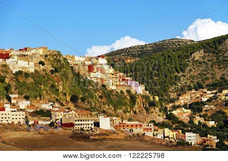View of Moulay Idriss, the holy town in Morocco, named after Moulay Idriss I, arrived in 789 bringing the religion of Islam