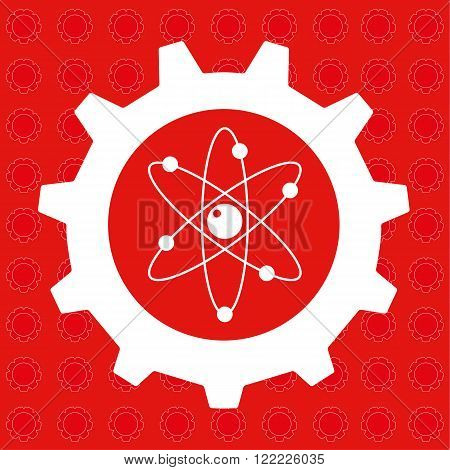 Gear or cog wheel with the atomics symbol at the centre in red and white