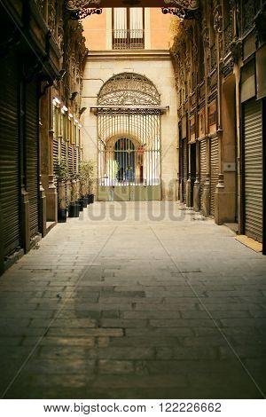 Ancient street of Barcelona. Passatge de Bacardi ** Note: Shallow depth of field