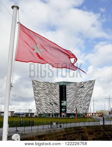 Belfast United Kindom - febrary 22 2016: Titanic Museum Palace vieved from Nomadic deck