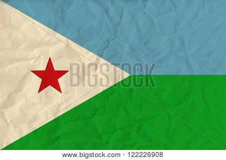 Vector image of the Djibouti paper  flag
