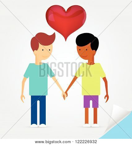 Love marriage couple of two men and red heart between of them . Same-sex marriage. Flat style.