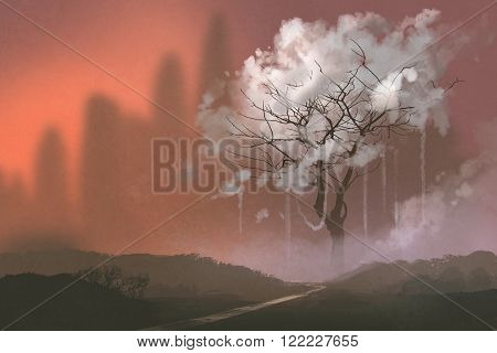landscape with cloud tree, illustration digital painting, scenic